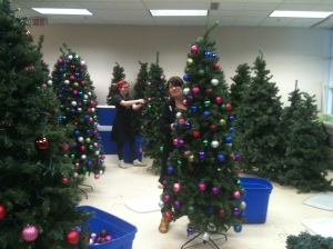Cara Rowlands and Patrice Forbes in the tree decorating room