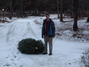 Lewis and this year's tree
