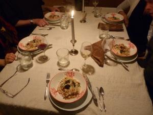 4th Course, pasta, salmon, truffle, parma cheese