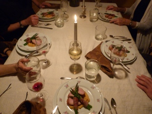 6th Course. Sweet potato mash, pork loin roast, asparagus spears with procuitto