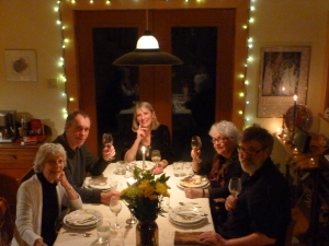 Happy fellow travellers Laurie Lewis, Jack Hurd, Amanda, Jan Irwin, Tim Wynne-Jones