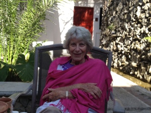 Laurie Lewis at home in Oaxaca