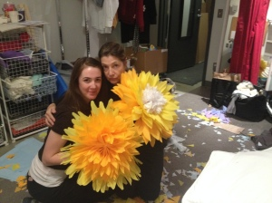 Carys & Michelle making flowers
