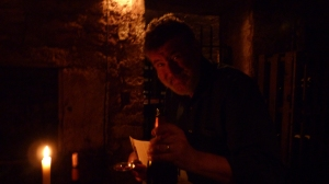 Tim tasting in the cellars at Cave Petriarche