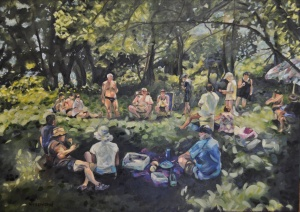 Zerilda Wessel's painting of our picnic on the Loire
